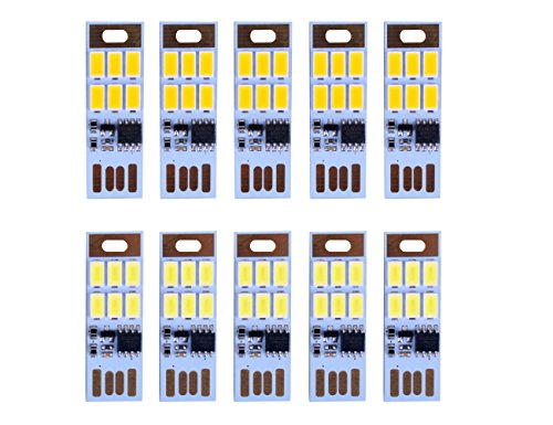 HUAHA 10pcs USB Mini LED Lights 6 Keychain Lights Lamp with Smart Touch Electrodeless Dimming Switch for Laptop,Emergency Security Lighting Home Decoratio (5 Warm+5 White)