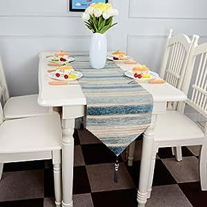 Top Finel Rayas de color corredor de la tabla de mezcla camino con borlas para la cena artística fiesta decoración de la boda mesa de comedor manera(33cmX180cm)Verde azulado