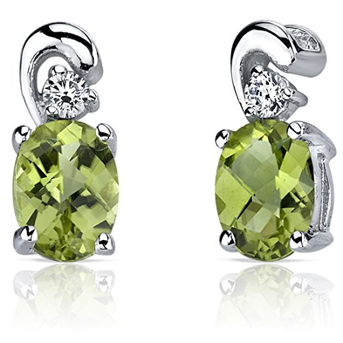 Sleek and Radiant 1.50 Carats Peridot Earrings in Sterling Silver Rhodium Nickel Finish