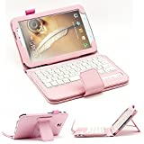 SUPERNIGHT Removable Bluetooth Keyboard with Stand Case for Samsung Galaxy Note 8.0 GT-N5100 N5110 Tablet Tablet .Color :Pink