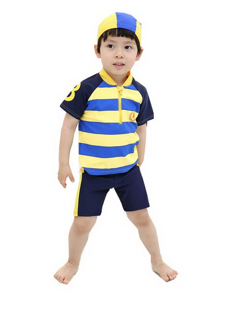 Boys Blue Striped Swimsuit Two Piece Bathing Suit with Cap, L, 4-5 Years Old