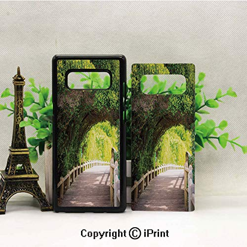 Case for Galaxy note8,Nature Boardwalk Through Green Archway Bridge Foliage Trees Sunny Summer Day Shockproof Series TPU Bumper Protective Case for Samsung Galaxy note8, 2017 Release Print Design Bei