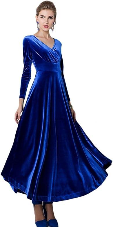 Velluto vintage blu abito lungo abito formale blu scuro