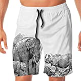 Haixia Men Lightweight Boardshorts Elephant Ancient Elephants Rhino Art Image