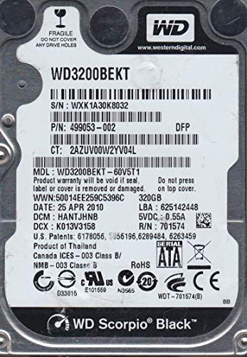 Western Digital (WD) Black 320 GB (320gb) Mobile Hard Drive 2.5 Inch, 7200 RPM, SATA II, 16 MB Cache- 1 Year Warranty for Laptop, Notebook, PC, PS4 and PS3