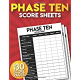 Phase Ten Score Sheets: 130 Large Phase 10 Card Game Score Pads.