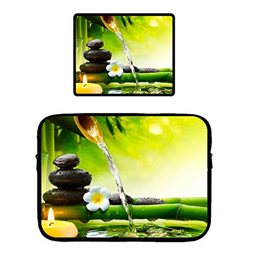 115 inch Microsoft Surface Book Protective Soft Sleeve Case Cover Bag with Safe Interior and Locking Edge Mouse Pad, Spa Decoration Asian Zen Garden Orchid Candle Stone Bamboo Zen