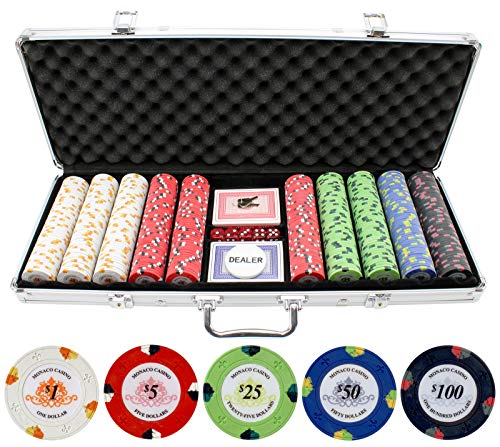 JPC 13.5g 500pc Monaco Casino Clay Poker Chips Set