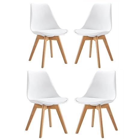 Luoji Pack de 4 Silla de Plástico Tapizada de Haya con Asiento Cómodo Sillas Cocina Modernas Sillas Comedor Acolchadas Blanco