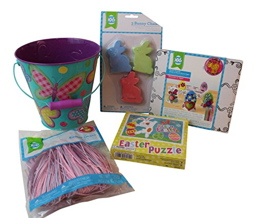 5 pc Butterfly themed Easter Spring Bundle: Tin Sand Bucket, Bunny Sidewalk Chalk, Puzzle, Doodle Egg Kit, Easter Grass (Easter Pail)