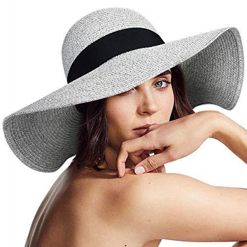 (Wide Brim Sun Straw Hats for Women UPF 50 Foldable Roll up Floppy Summer Beach Hat )