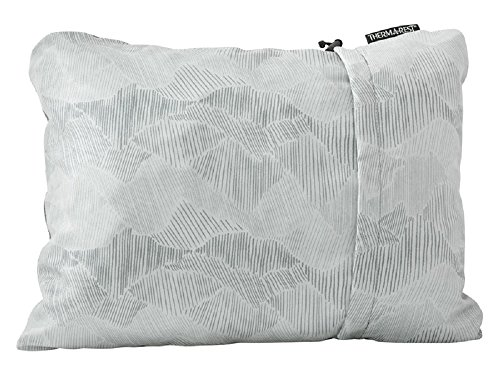 Therm-a-Rest Compressible Travel Pillow for Camping, Backpacking, Airplanes and Road Trips, Gray, Large - 16 x 23 Inches