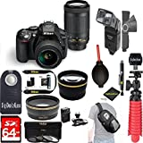 Nikon D5300 24.2 MP DSLR Camera+AF-P DX 18-55mm & 70-300mm NIKKOR Zoom Lens Kit+64GB+Pro Sling Backpack+Wide Lens+2x Tele Lens+Flash+Rapid Charger+RemoteTripod+Filters (Black) (International Version)