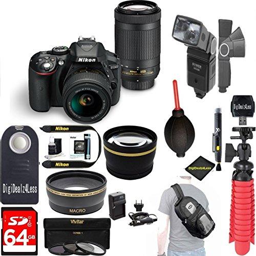 Nikon D5300 24.2 MP DSLR Camera+AF-P DX 18-55mm & 70-300mm NIKKOR Zoom Lens Kit+64GB+Pro Sling Backpack+Wide Lens+2x Tele Lens+Flash+Rapid Charger+RemoteTripod+Filters (Black) (International Version) by DigiDeals4Less