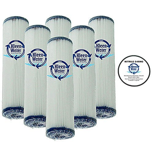 Whirpool WHKF-WHPL & GE FXWPC Compatible Pleated Water Filters, 2.5 x 9.75 Inch, 5 Micron - Dirt Sediment Filtration (6) with O-ring for WHKF-DWHV, WHKF-DWH & WHKF-DUF (1) - by KleenWater