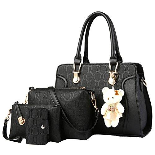Handbag Sets Shoulder Bags Top-Handle Handbag Women Satchel Tote Purse 4PCS