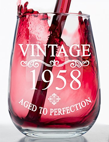 Birthday Stemless Wine Glass - Vintage - Aged to Perfection - Makes a Great Birthday Gift! (1958)