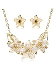 Gold Plated Austrian Crystal Enamel Flower Jewelry Sets Women African Costume Sapphire Jewelry Maxi Necklace Earring Set Pws0001^Gold Beige