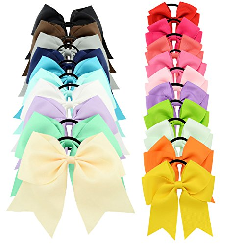 """Price comparison product image YOY 20 Pcs Fashion Baby Girls Boutique Hair Ties Ponytail Holders - Stretchy Elastic Ropes Rubber Bands Hair Accessories Set with Grosgrain Ribbon Bows 8"""" and 4.5"""" for Toddlers Teens Kids"""