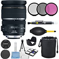 Canon EF-S 17-55mm f/2.8 IS USM Lens for Canon DSLR Cameras with 3pc Filter Kit (UV, CPL, FLD) + Lens Pouch + Hood + Cleaning Kit - International Version