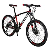 EUROBIKE X1 GTR Aluminium Mountain Bike 21 Speed Shifting 26 Inches Wheel Dual Disc Brake MTB Bicycle Black Red
