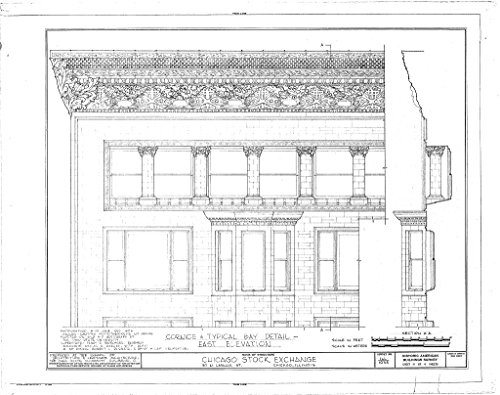 Chicago Lasalle Bank (historic pictoric Blueprint Diagram HABS ILL,16-CHIG,36- (sheet 4 of 4) - Chicago Stock Exchange Building, 30 North LaSalle Street, Chicago, Cook County, IL 44in x 32in)