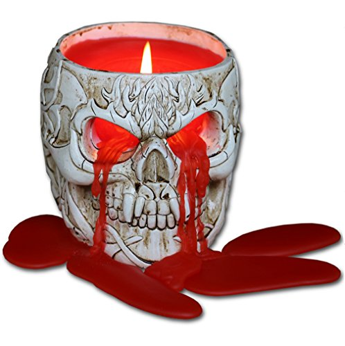 Spiral D GOTH SKULL - Resin Candle Holder with Halloween Wax Candle]()