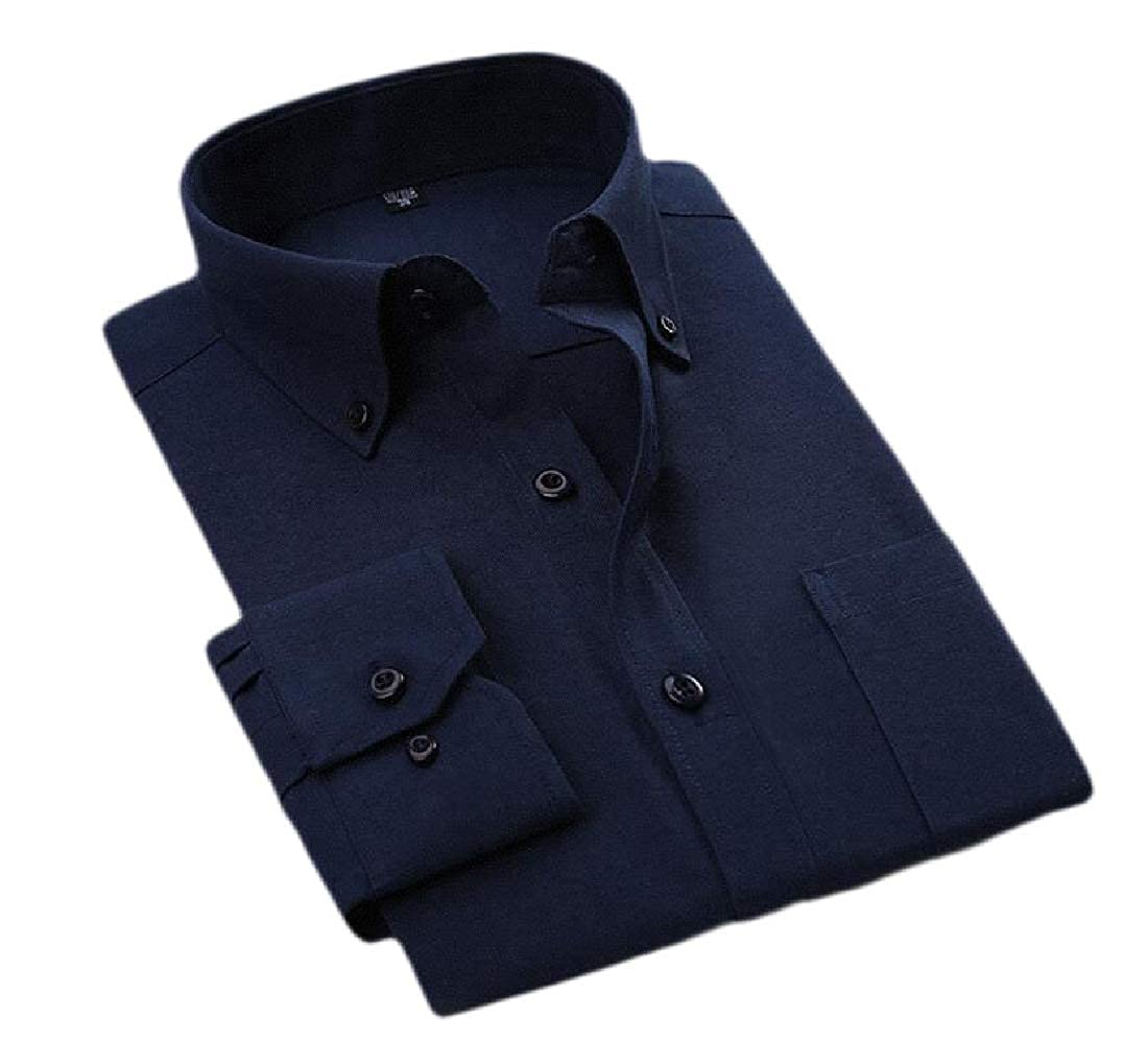 pipigo Men Business Pocket Solid Dress Work Slim Button Down Shirts