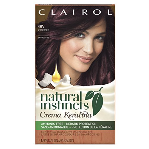 Clairol Natural Instincts Crema Keratina Hair Color Kit, Burgundy 4RV Eggplant Creme -