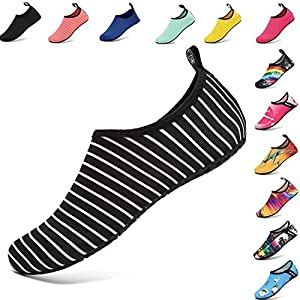 VIFUUR Water Sports Shoes Barefoot Quick-Dry Aqua Yoga Socks Slip-On for Men Women Kids BlackStripes-40/41