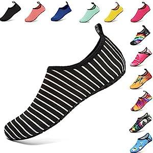 VIFUUR Water Sports Shoes Barefoot Quick-Dry Aqua Yoga Socks Slip-On for Men Women Kids BlackStripes-36/37