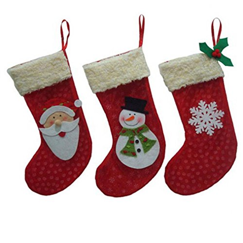 Creazy® 3pcs/set Christmas Decorations Santa Claus Snowman Candy Socks Gifts Bag (Snowman Sack)