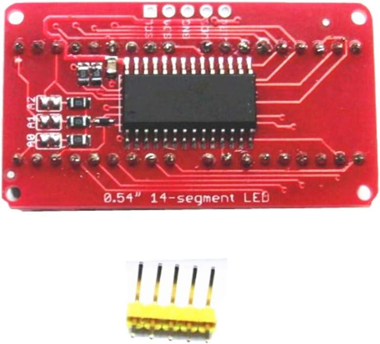 4 Digit LED I2C Control for Arduino 6pcs LED Display 14 Segment 0.54inch Screen Red and Orange LED Display