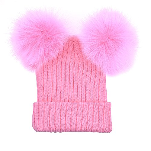 CHIDY Women Winter Warm Hats Crochet Knit Hairball Beanie Cap Winter Solid Color Double Hair Ball Cap Windproof Warm