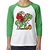 Toddler, Youth, Baby Christmas Shirt - Santa Dinosaur 3/4 Green Sleeve Shirt - 4T