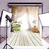 Daniu photography backdrop photo props fantasy ballon bear children wooden floor vinyl 3x5ft photo studio background for baby