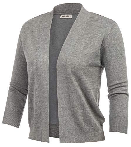 GRACE KARIN Women's 3/4 Sleeve Open Front Bolero Lightweight Sweater Cardigans Top (Flower Grey,S