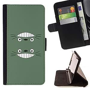 BullDog Case - FOR/Sony Xperia M2 / - / Cute Funny Smiling Totro /- Monedero de cuero de la PU Llevar cubierta de la caja con el ID Credit Card Slots Flip funda de cuer