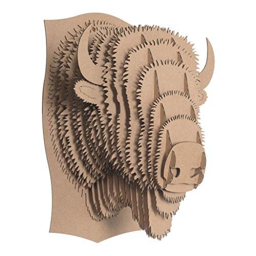 Cardboard Safari Recycled Cardboard Animal Taxidermy Bison Trophy Head, Billy Brown - Bison Head
