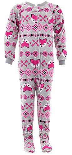 Sweet N Sassy Big Girls' Grey Fox Footed Pajamas 7-8