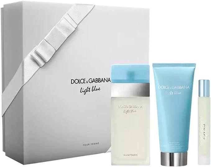 Estuche D&G Light Blue para mujer, perfume EDT 100 ml + perfume EDT 7,4 ml + loción corporal 100 ml GIOSAL: Amazon.es: Belleza