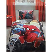 Spiderman in City %100 Cotton Duvet Cover Set 3 pcs Single/Twin Size Bedding Linens