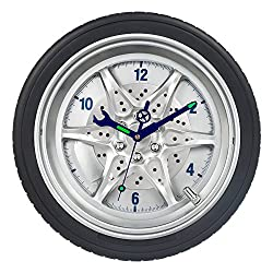 SkyNature Wall Decor Clock,14 Inch Tire Rim Gear of Time Home Decoration, Modern Technology Wall Art Clock,Night Light Tool Gadgets Hands Silent Non-ticking Battery Operated Clock
