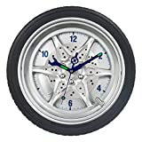 SkyNature Wall Decor Clock,14 inch Tire Rim Gear Time Home Decoration, Modern Technology Wall Art Clock,Night Light Tool Gadgets Hands Silent Non-Ticking Battery Operated Clock