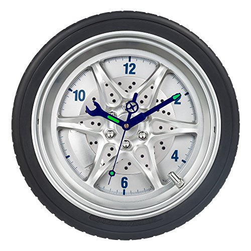 SkyNature Wall Decor Clock,14 Inch Tire Rim Gear of Time Home Decoration, Modern Technology Wall Art Clock,Night Light Tool Gadgets Hands Silent Non-ticking Battery Operated Clock For Sale