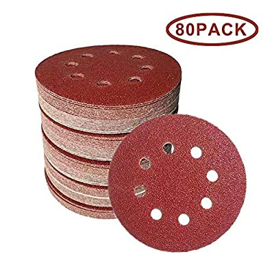 5-Inch 8-Hole Hook and Loop Sanding Discs, 40//60/80/120/240/320/800/1000 Assorted Grits Sandpaper - Pack of 80