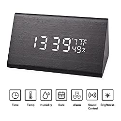 Wooden Digital Alarm Clock, Powered by USB or 3AAA Batteries,3 Levels Adjustable Brightness 3 Groups of Alarm Time,Displays Time,Date,Temperature and Humidity(Black)