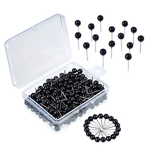 eBoot 300 Pieces Map Tacks Push Pins Round Plastic Head Push Pins, 1/ 5 Inch Head, Black