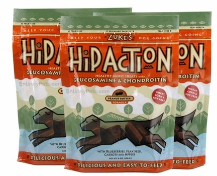 Zuke's Hip Action Dog Treats Peanut Butter and Oats Recipe, 6 Ounces (3 Pack)  - Hip Action Dog Zukes Treats