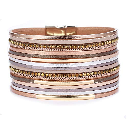 AZORA Leather Wrap Bracelets for Women Multilayer Strands Goldplated Metallic Tube Cuff Bracelet with Magnetic Buckle Gorgeous Bohemian Bangle Jewelry for Women Teen Girls Sister Mum